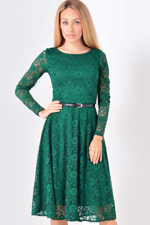 Sofia Lace Dress in Emerald Green