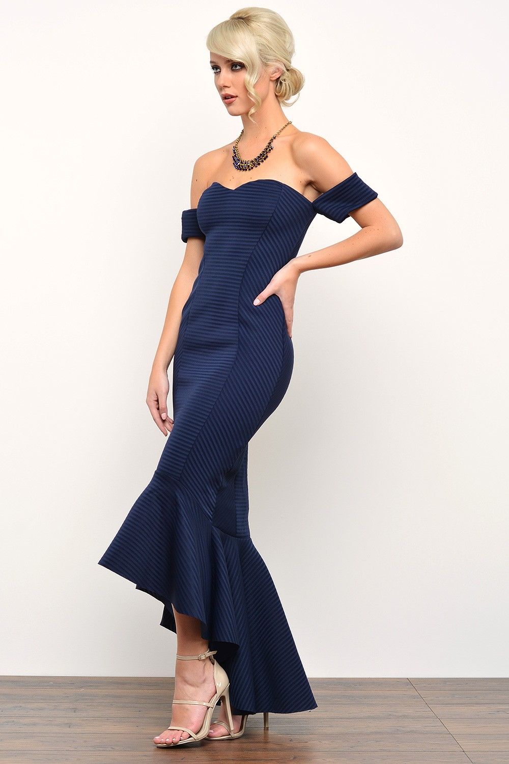 Goddiva Olive Bardot Fishtail Maxi Dress In Navy Iclothing