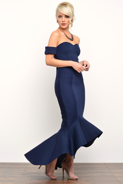 Goddiva Olive Bardot Fishtail Maxi Dress In Navy Iclothing