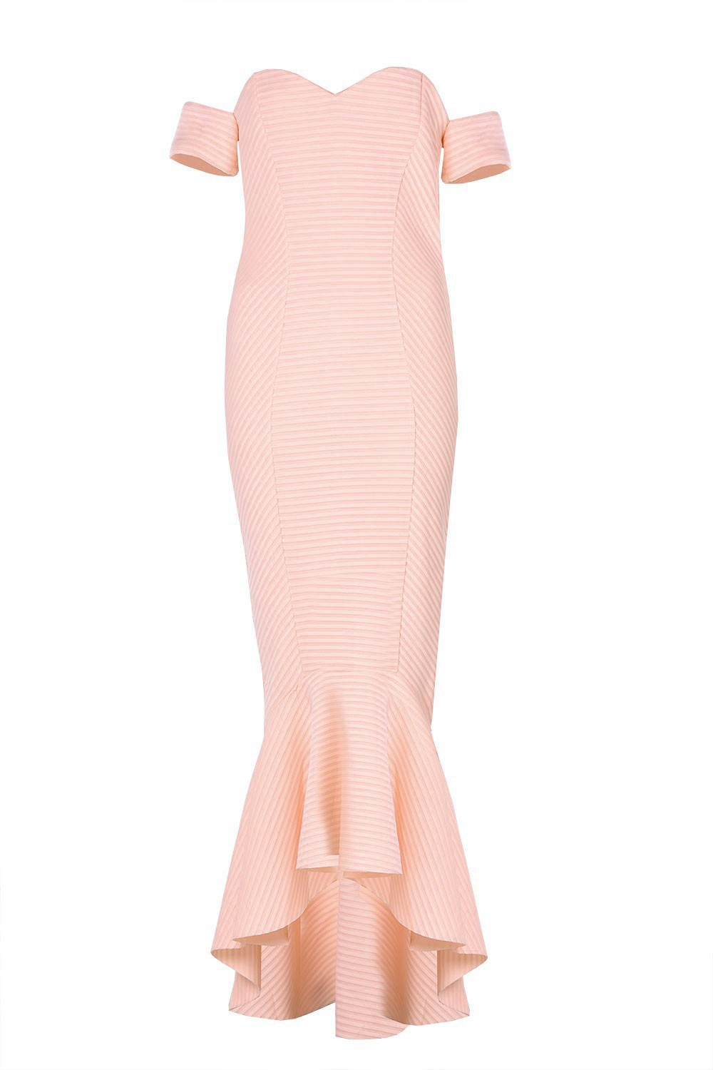 Goddiva Olive Bardot Fishtail Maxi Dress in Peach | iCLOTHING