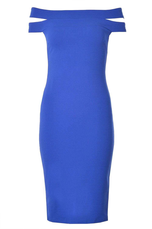 Home dresses morgan double bardot midi dress in blue