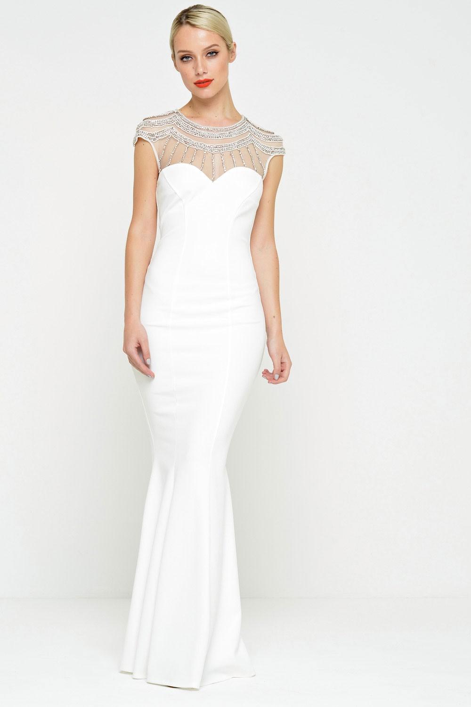 Goddiva Emily Embellished Fishtail Wedding Dress | iCLOTHING
