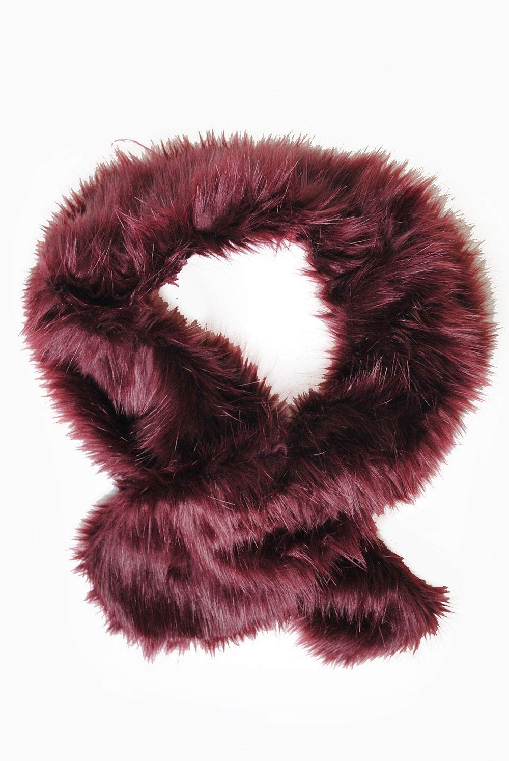 Nancy Faux Fur Stole In Burgundy Iclothing