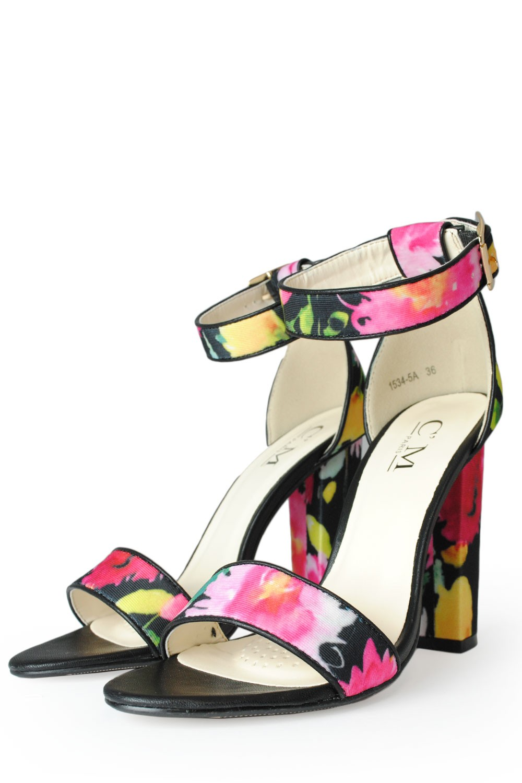 C M Paris Alanis Floral Block Heel Sandal In Black Iclothing