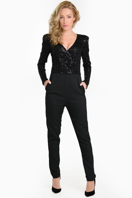AX Paris Celina Long Sleeve Wrap Sequin Jumpsuit