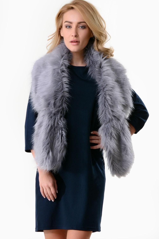 Nancy Faux Fur Stole In Grey Iclothing