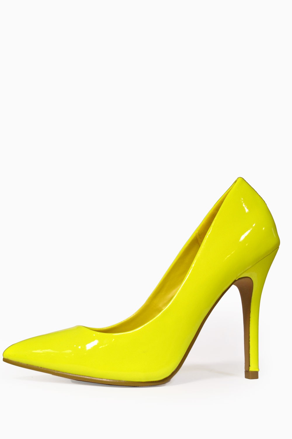 Debbie Pointed Court Shoes in Neon Yellow