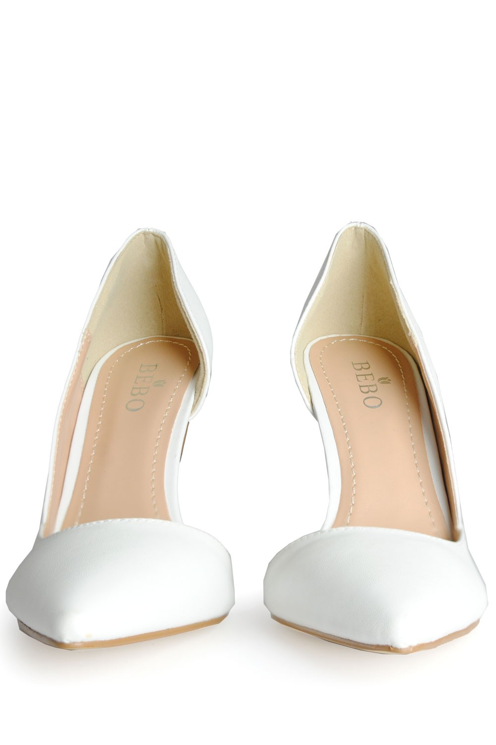 indigo footwear cut out pointed court shoes in white