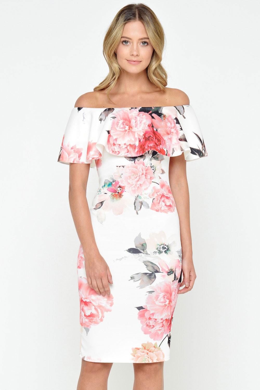 ecc32e72526f Evita Lucy Off Shoulder Floral Dress in Cream