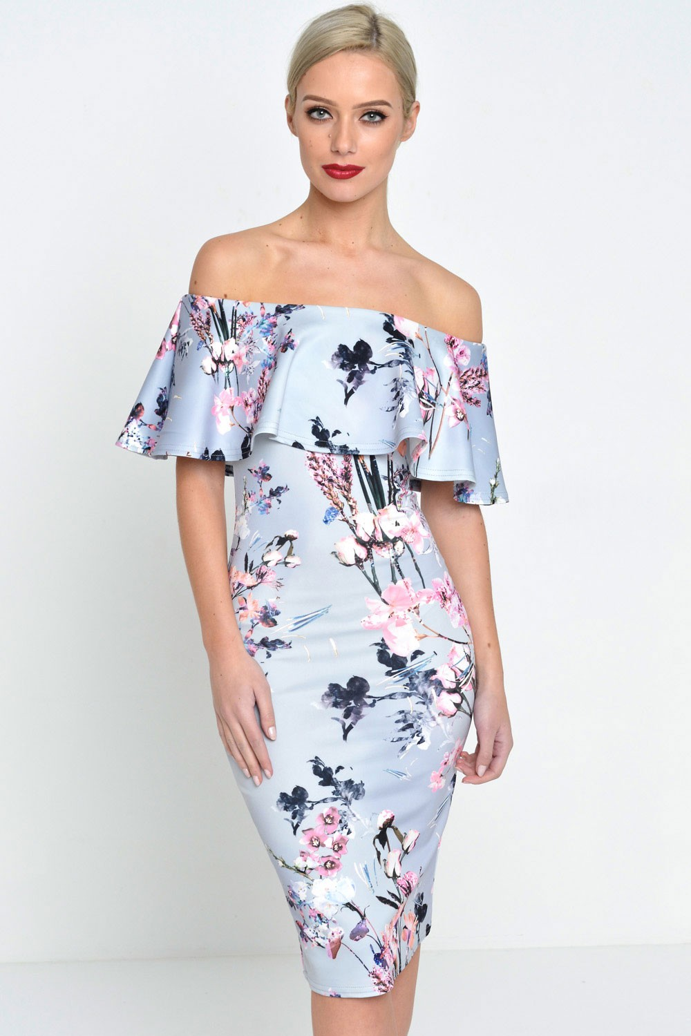 07a84a55cc06 ... bardot off the shoulder bodycon pencil midi dress dresses in white or  black floral print and; e5537b978 grey floral 1 ...