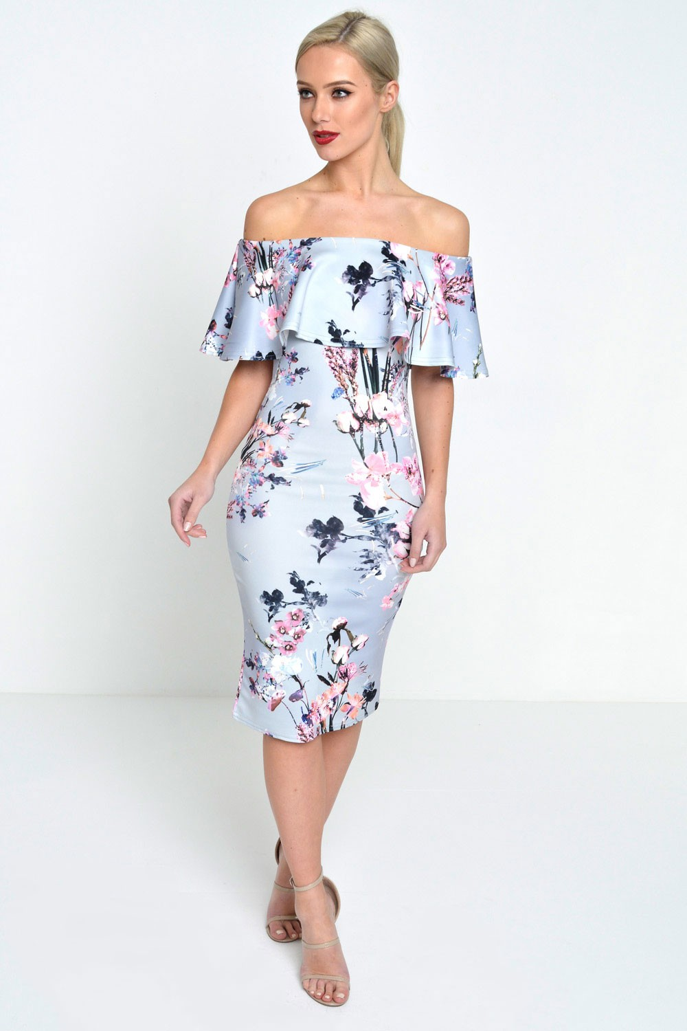 81c52905f254 ... off the shoulder bodycon dress · zoom; e5537b978 grey floral 2 ...