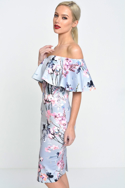 99de3b850ef4 Evita Philis Floral Off Shoulder Bodycon Dress in Grey