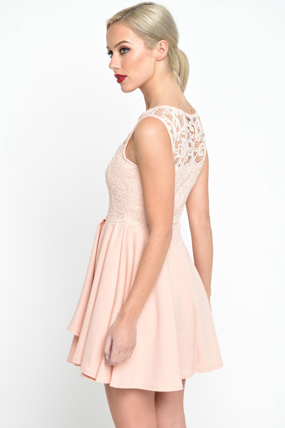 Tilly Lace Top Skater Dress in Peach