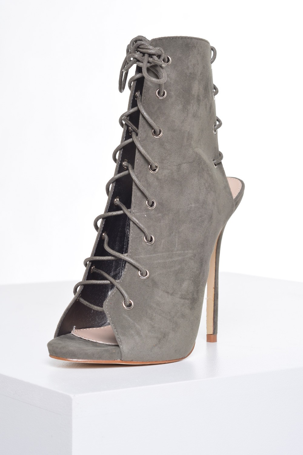 elisa lace up ankle boots in khaki suede