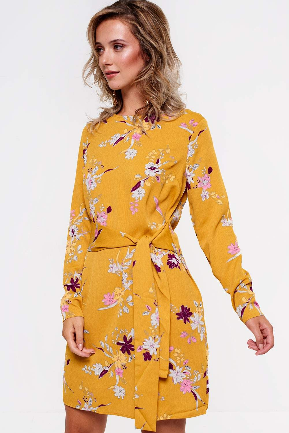d4a77a7988c Pieces Gail Long Sleeve Dress in Mustard Floral Print