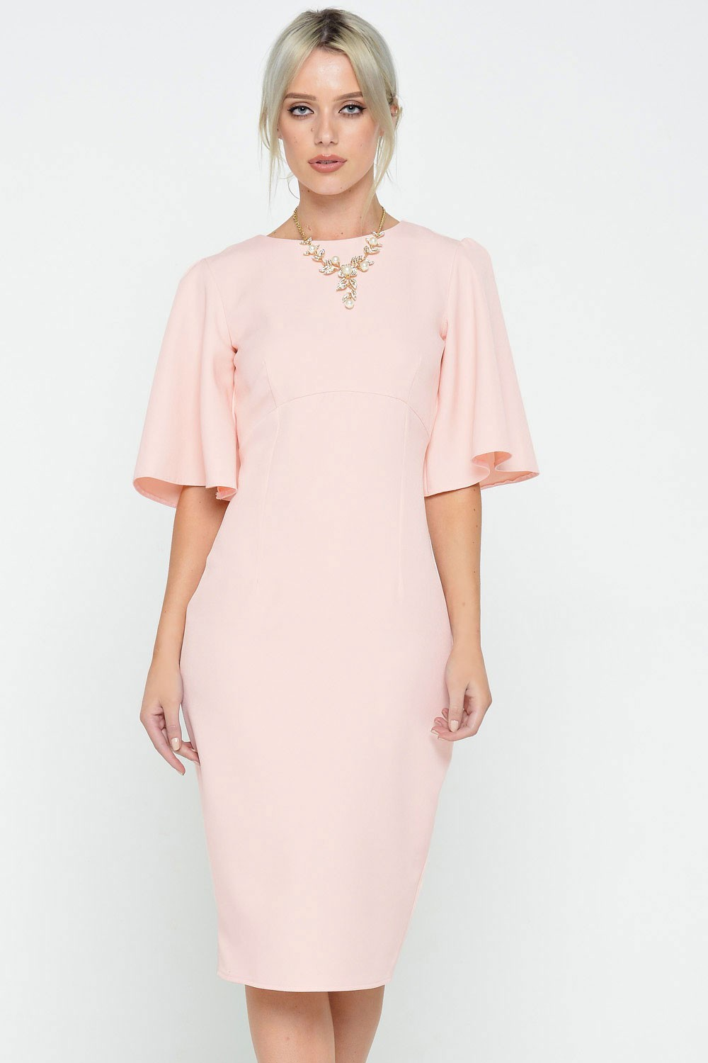 Ad Lib Emma Cape Sleeve Midi Dress In Baby Pink Iclothing