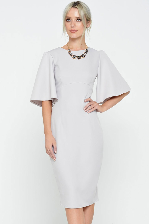 Ad Lib Emma Cape Sleeve Midi Dress in Grey | iCLOTHING