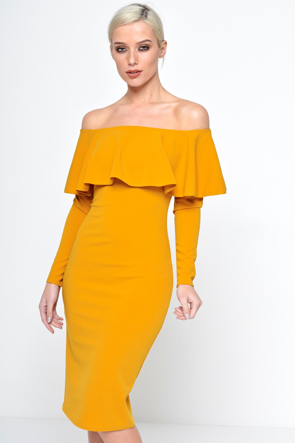 6c8510900215 Ad Lib Luella Off Shoulder Long Sleeve Dress in Mustard
