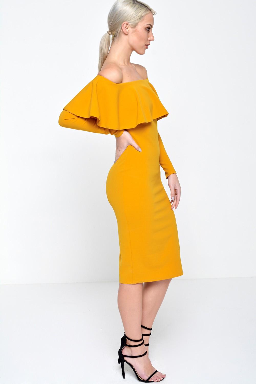 Ad Lib Luella Off Shoulder Long Sleeve Dress In Mustard