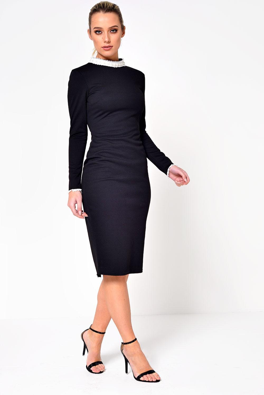 Ad Lib Talia Frill And Pearl Collar Dress In Black Iclothing