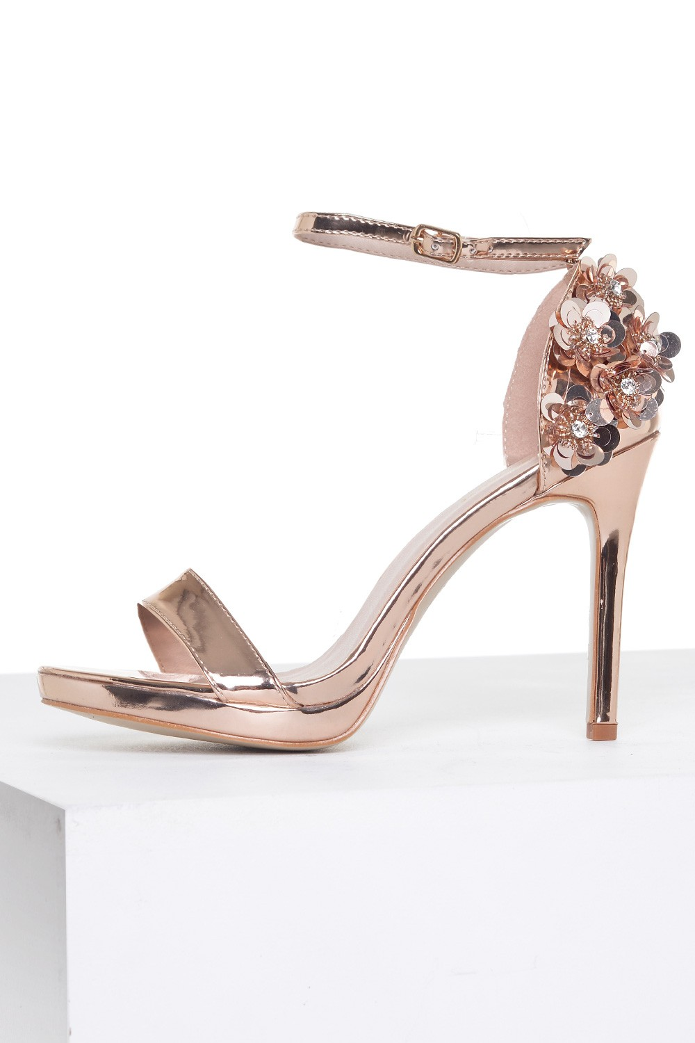 4397f1836f3771 Sole City Pippa Embellished Heel Sandals in Rose Gold