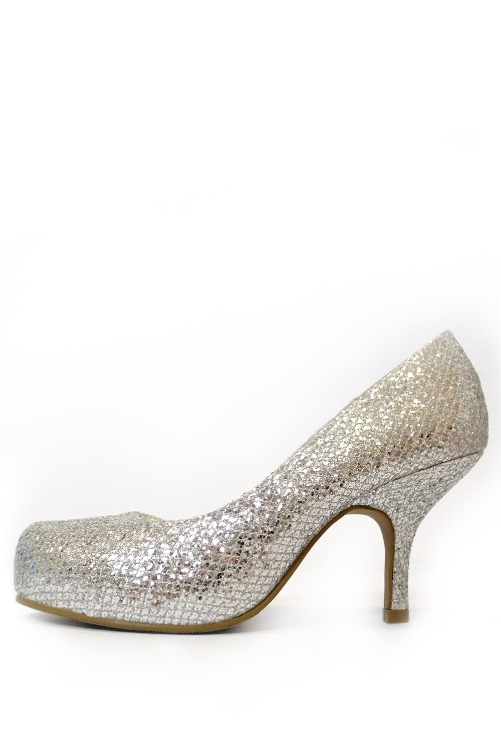 247 Ellis Metallic Mid Heel Court Shoe in Silver | iCLOTHING