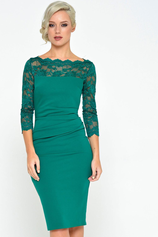Goddiva Katherine Lace Neck Midi Dress In Emerald Green Iclothing