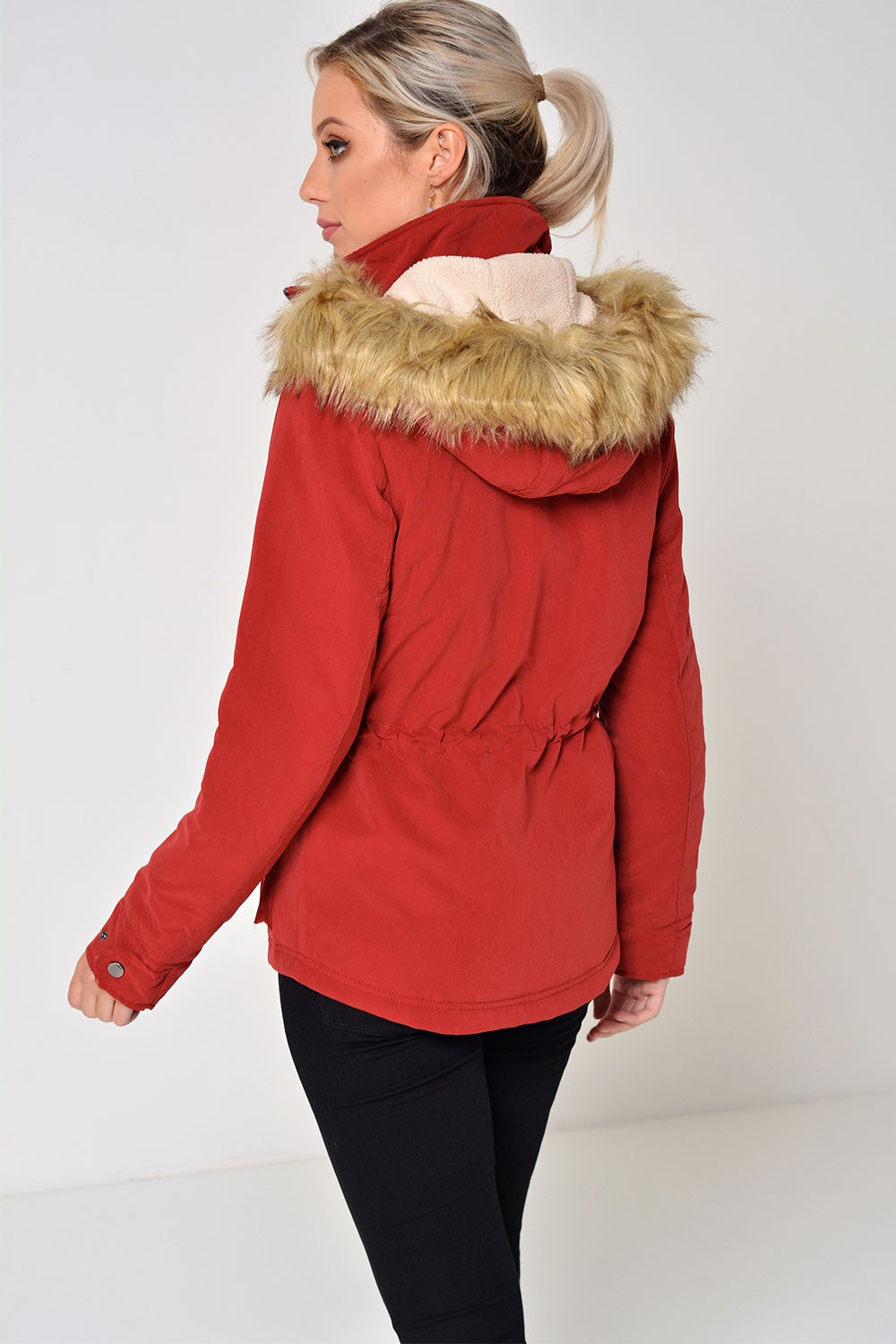 Only Starlight Short Fur Parka Coat in Red | iCLOTHING
