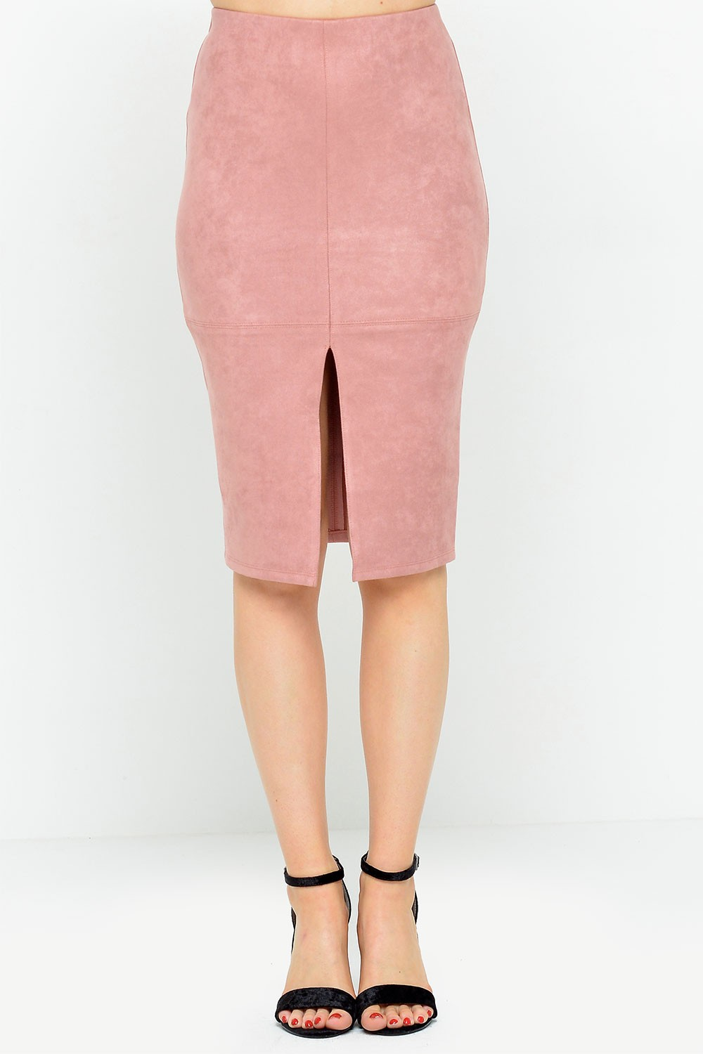 e57dd7ed54 Glamorous Lana Suedette Pencil Skirt in Dusty Pink | iCLOTHING