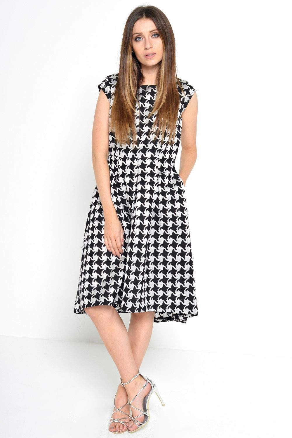Marc Angelo Jessa Houndstooth Dress In Black And Silver