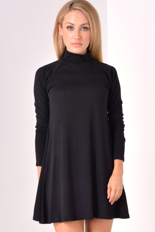 Ax Paris Nora Turtle Neck Swing Dress In Black Iclothing