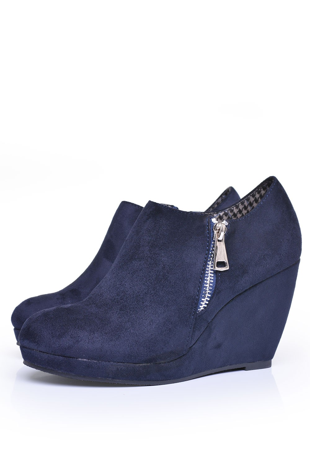sole city elyza wedge boot in navy iclothing