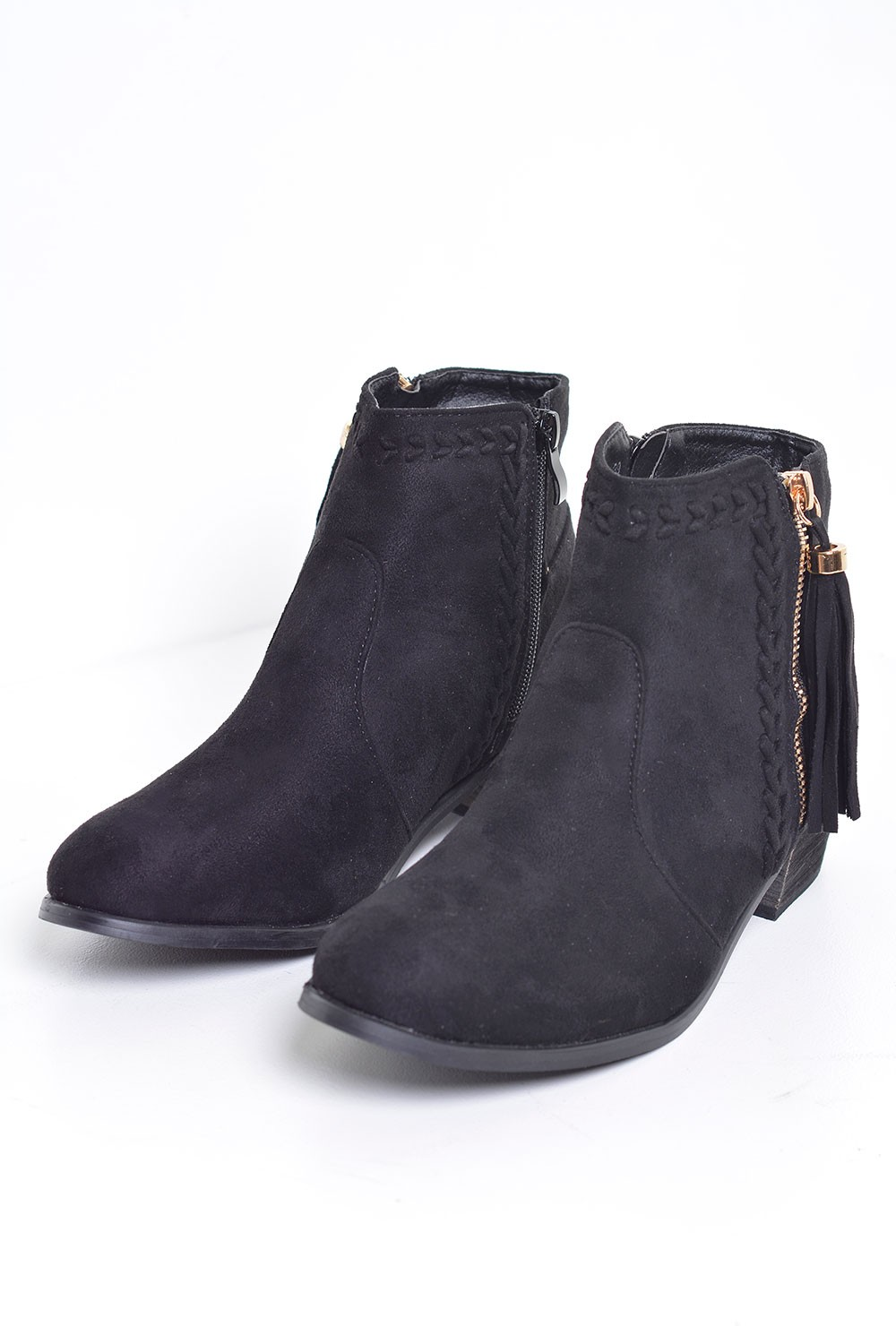 c m polly embroidered ankle boots in black suede
