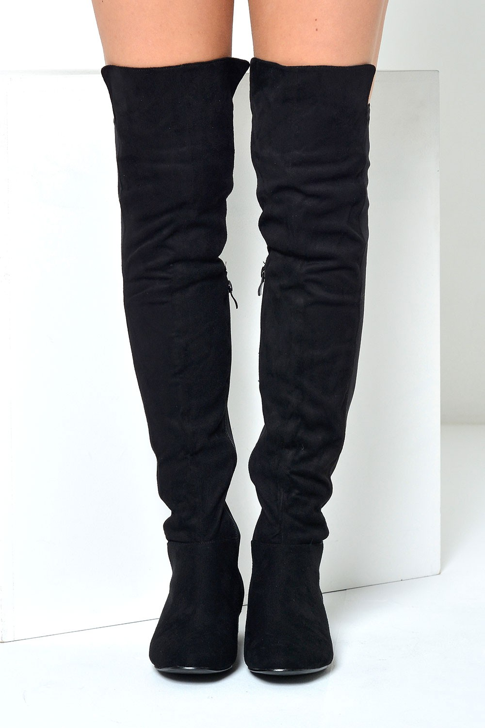 f455557e6567 No Doubt Flic 50 50 Over Knee Boots in Black Suede