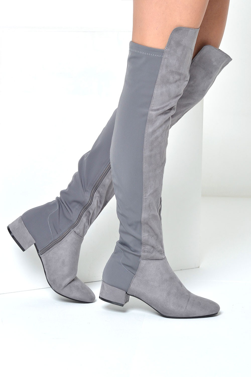 no doubt flic 50 50 knee boots in grey suede iclothing