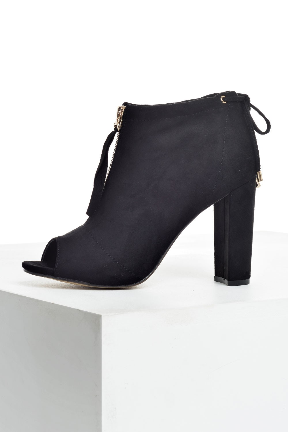 sole city tatem open toe ankle boots in black suede