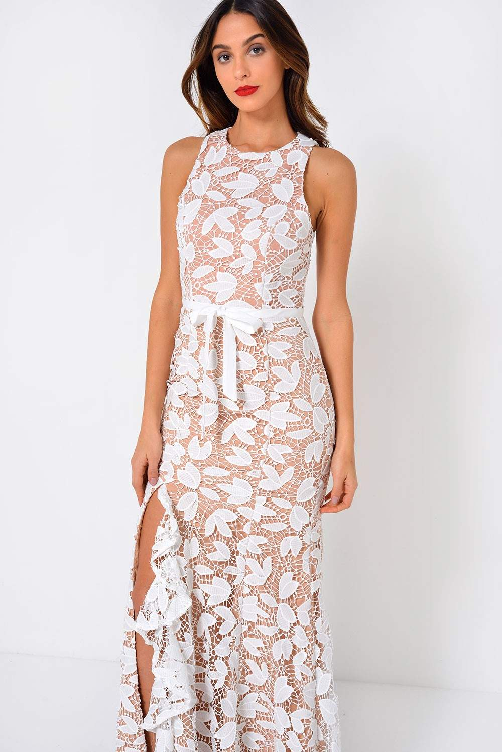 Soho Market Petal Crochet Evening Dress in Ivory and Nude | iCLOTHING