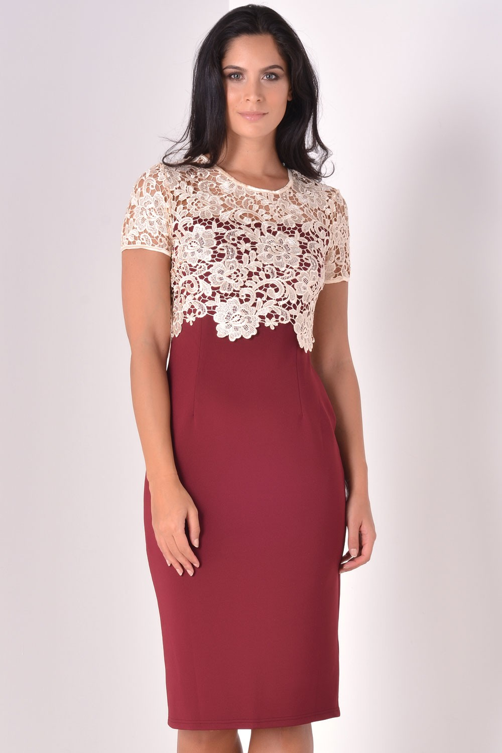 Marc Angelo Blythe Lace Overlay Dress In Wine Iclothing