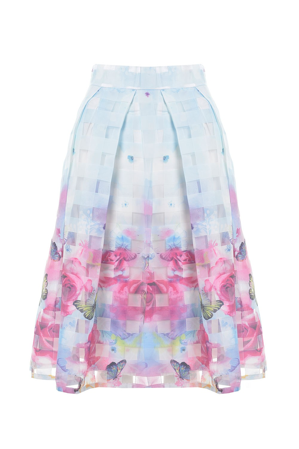 printed skater skirt in blue and pink
