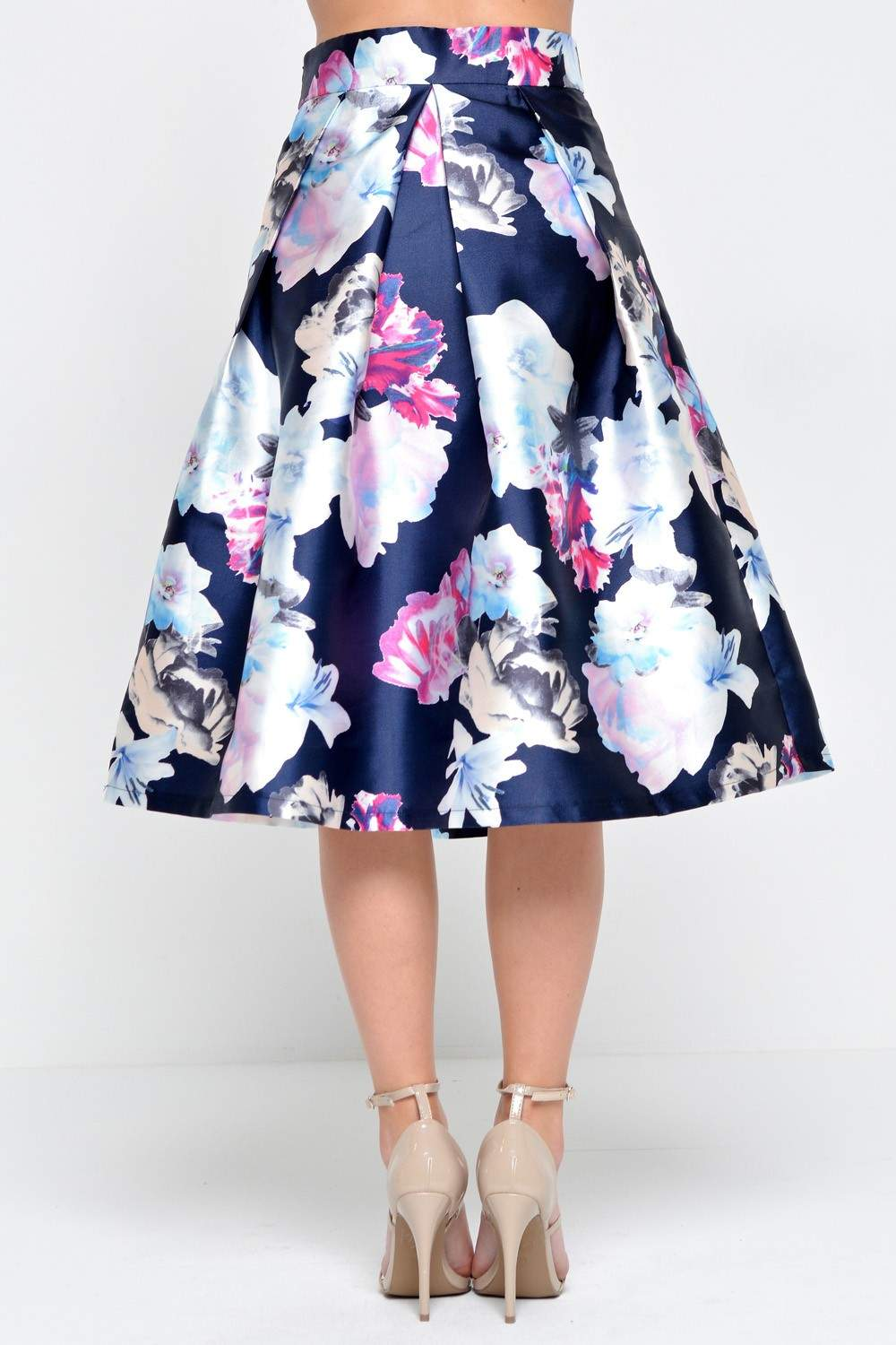 Jordan Floral Pleat Midi Skirt in Navy
