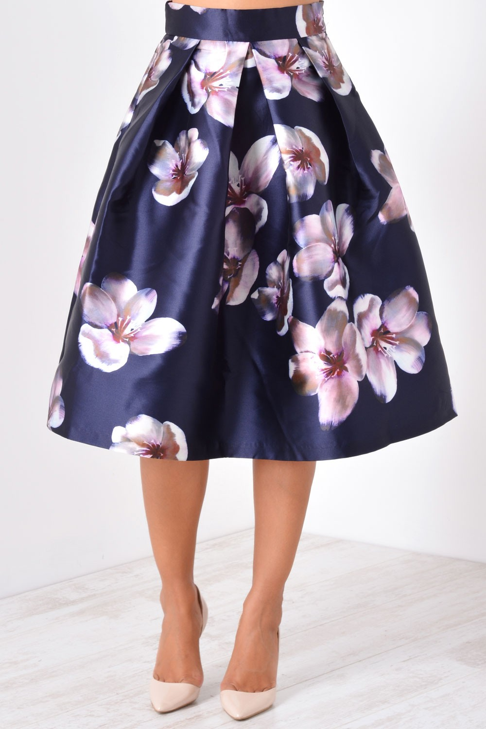 Marc Angelo Sheryl Floral Print Skirt In Navy Iclothing