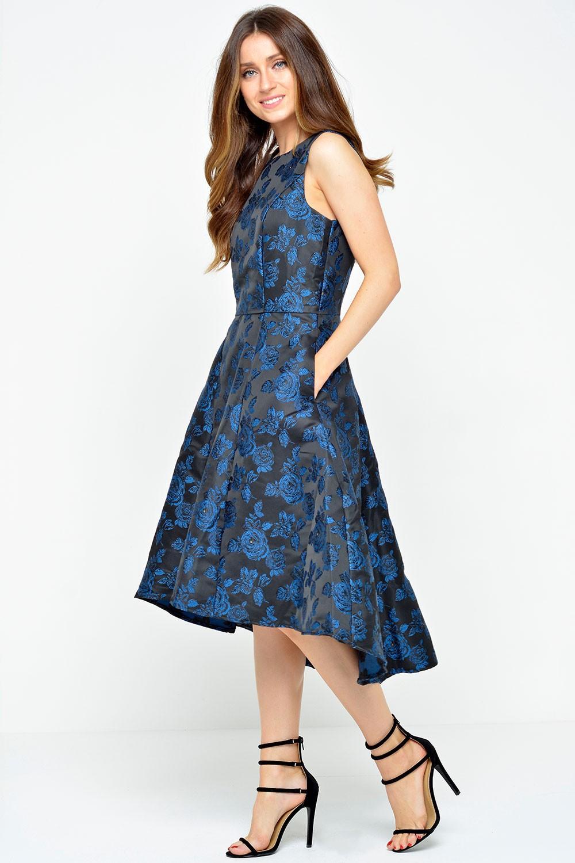 Marc Angelo Sally Brocade Dress In Royal Blue Iclothing