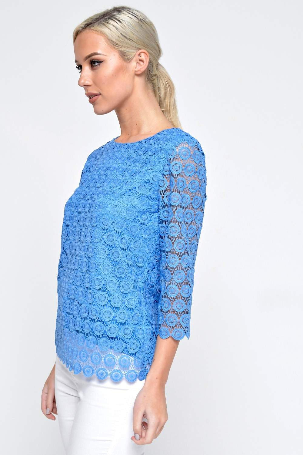 More Views Sinead Crochet Lace Top In Cornflower Blue
