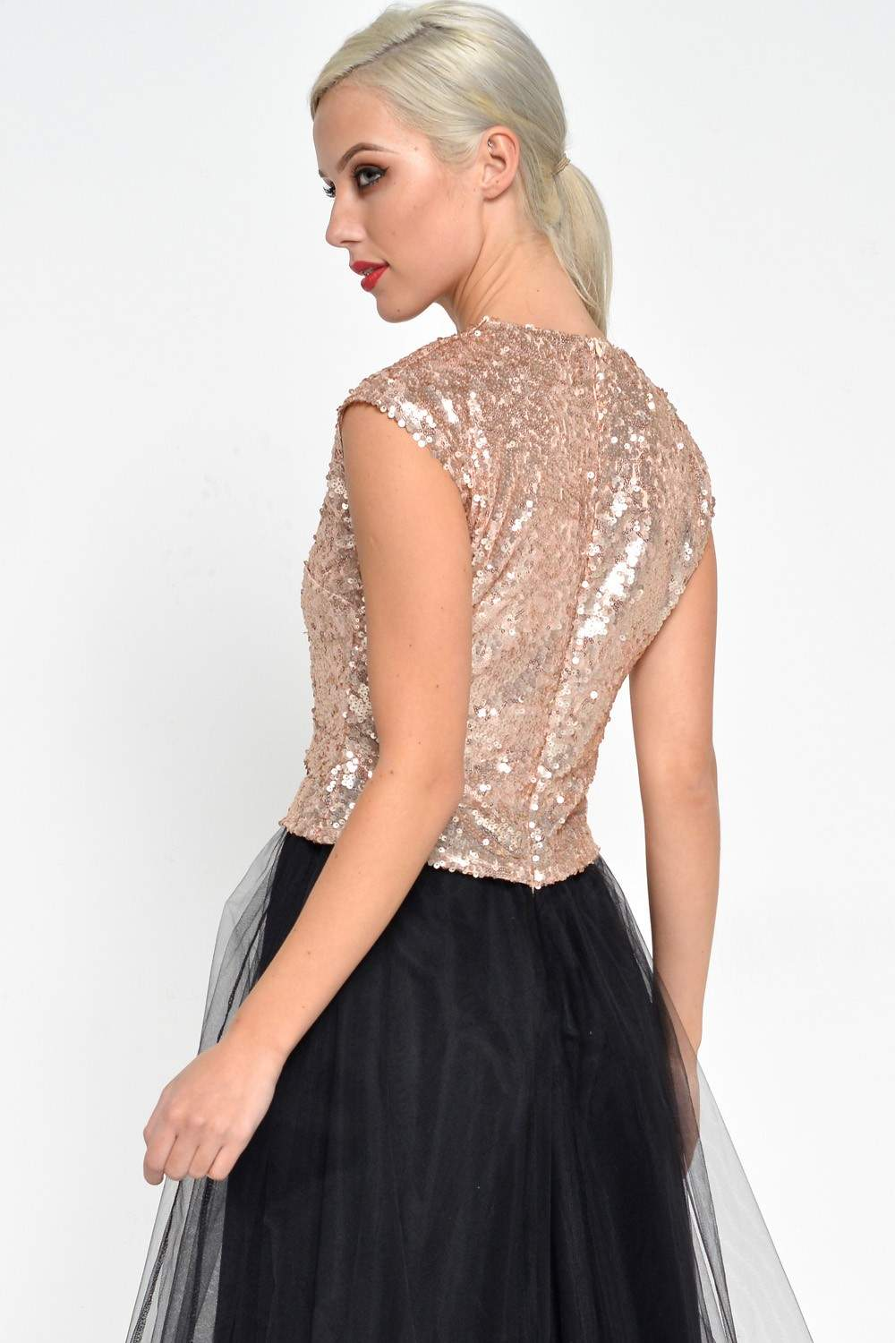 Marc Angelo Rosa Sequin Dress In Rose Gold