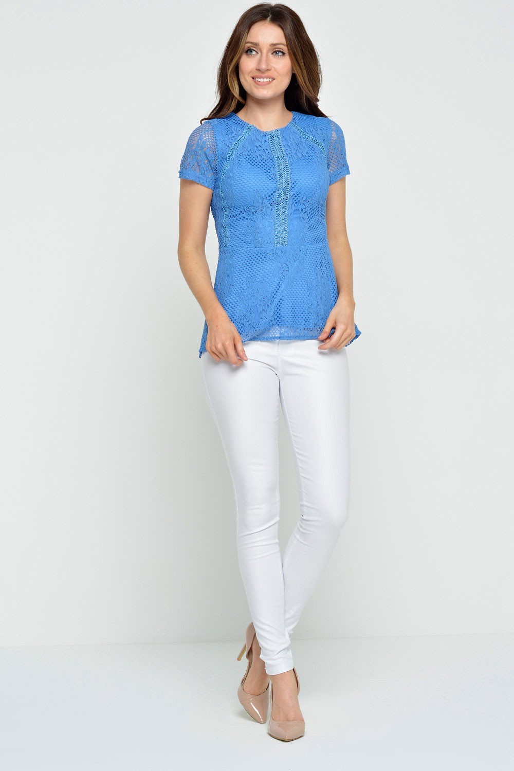 More Views Quinn Lace Peplum Top In Cornflower Blue
