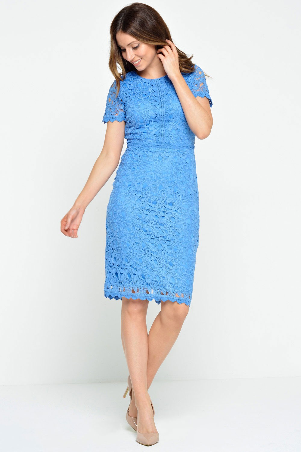 Marc Angelo Nancy Crochet Lace Midi Dress in Cornflower ...