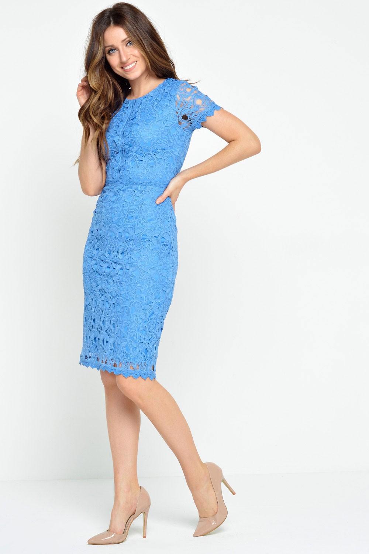 Nancy Crochet Lace Midi Dress in Cornflower Blue