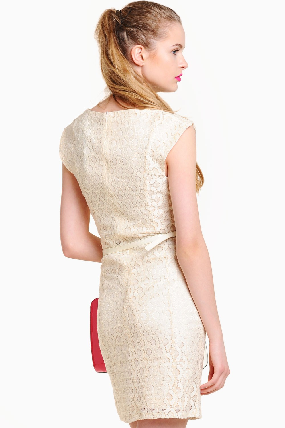 marc angelo catrina lace belt shift dress in beige iclothing