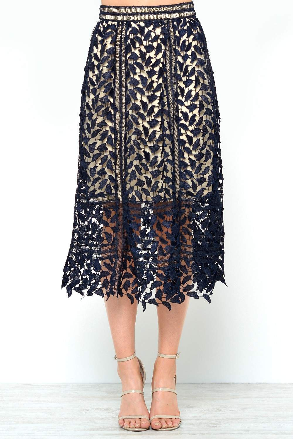 Morgan Lace Midi Skirt in Navy