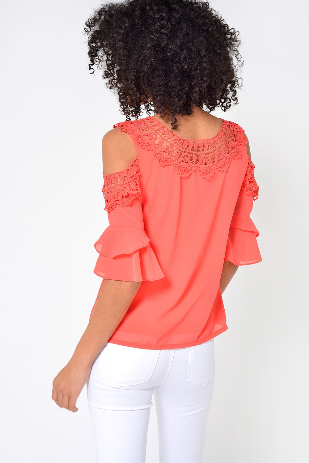 4a9c118e0278a More Views. Nadia Crochet Cold Shoulder Top in Coral. Marc Angelo
